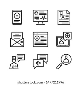Online doctor line icons. Online medical services, telemedicine, medical advice, video consultation concepts. Simple outline symbols, modern linear graphic elements collection. Vector icons set