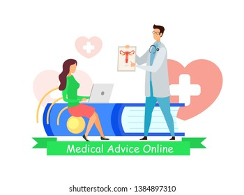 Online Doctor, Medical Advice Vector Web Banner. Therapist, Specialist Cartoon Character. Woman at Gynecologist Appointment Flat Color Illustration. Lady Visiting Obstetrician, Obgyn