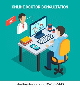 Online doctor medical consultation concept on blue background 3d isometric vector illustration