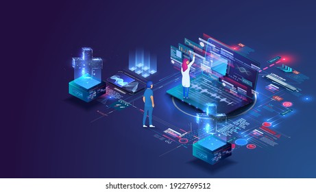 Online doctor and medical consultation. Pharmaceutical research laboratory with scientists working to develop new drugs and genetic testing. Innovative healthcare. Vector