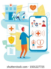 Online Doctor and Medicinal Personal Help Cartoon. Smart Mobile Technology in Healthcare. Cartoon Patient Need Help and Call for Emergency Medical Team via Cellphone. Vector Flat Illustration