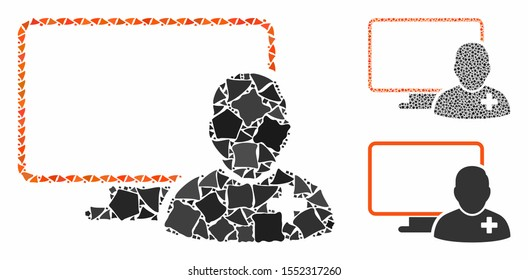 Online doctor mosaic of trembly pieces in different sizes and color tones, based on online doctor icon. Vector raggy pieces are composed into collage. Online doctor icons collage with dotted pattern.