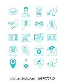 online doctor, physician technology consultant medical protection covid 19 icons set vector illustration, line style icon