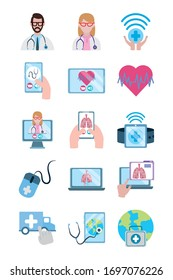 online doctor, physician technology consultant medical protection covid 19 icons set vector illustration, flat style icon