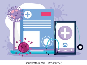 online doctor, smartphone laptop stethoscope medical report vector illustration covid 19