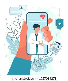 Online Doctor, Telemedicine, Medical Service Online for Patients. Vector illustration Online medical concept. Medical Consultation by Internet with Doctor. Telemedicine concept, Healthcare service.