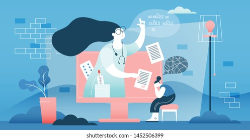Online doctor vector illustration. Flat tiny medical help persons concept. Distance internet emergency support. Professional diagnosis and treatment service. Patient illness communication technology.