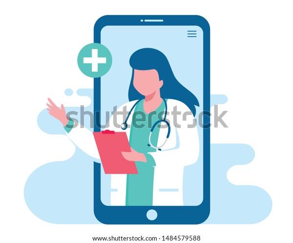 Online doctor women healthcare concept icon set. Doctor videocalling on a smartphone. Online medical services, medical consultation. Vector illustration for websites landing page templates
