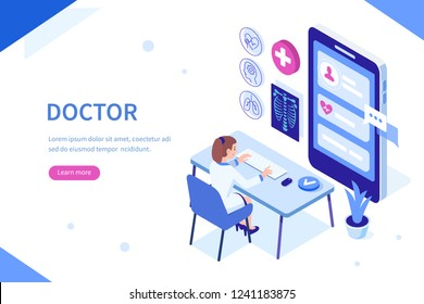 Online doctor at work Can use for web banner, infographics, hero images. Flat isometric vector illustration isolated on white background.