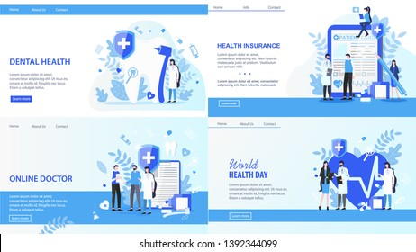 Online Doctor World Health Day Dental Insurance Vector Illustration. Internet Search Doctor Dentist Appointment Family Insurance Contract Finance Support Health Awareness Tooth Treatment