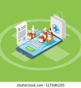 Online drugstore, vector 3d isometric illustration. Flat illustration. Pharmacy mobile app concept.