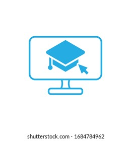 online e learning icon internet education icon design vector