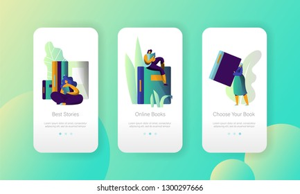 Online Ebook Library Modern University Mobile App Page Onboard Screen Set. Digital Book Reader. Woman Read Book, Elearning Technology Concept for Website or Web Page. Flat Cartoon Vector Illustration