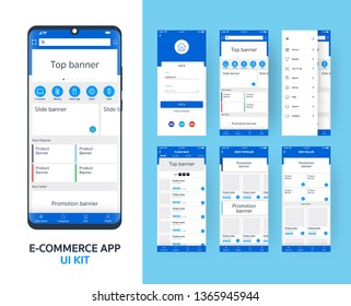 online e-commerce app UI kit for responsive mobile app with different GUI layout including Login, main page, categories , promotion page screens, blue themes