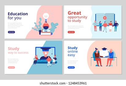Online education 4 flat concept banners web page design with certified training university college courses vector illustration