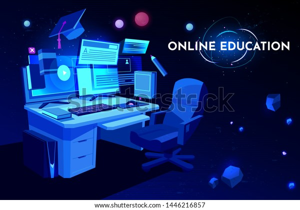 Online Education Banner Student Workplace Computer Stock Vector Royalty Free 1446216857
