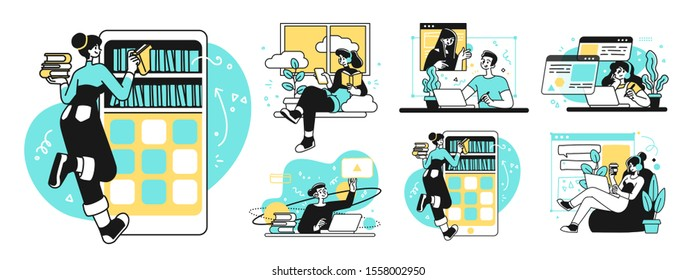 Online Education Business Concept illustrations. Collection of scenes with men and women taking part in activities of educating or instructing. Outline vector illustration.