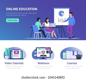Online education  and business training concept. Flat style vector illustrations with trendy gradients.