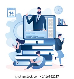 Online education or business training. Pile of books and tablet pc with video course,various people with smart gadgets.Adult characters in trendy style, vector illustration