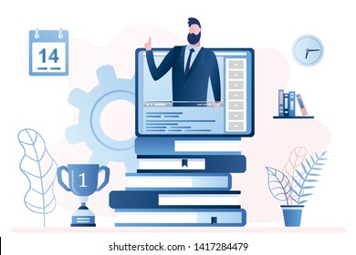 Online education or business training. Pile of books and tablet pc with video course.Businessman teacher. Trendy style vector illustration
