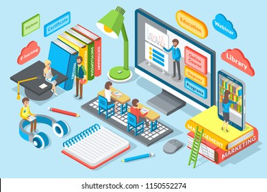 Online education cartoon vector. Desktop with learning stuff, course and degree, program and certificate, diploma and webinar, library and e-learning