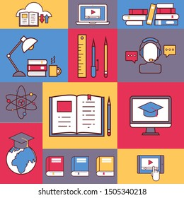 Online education collage, vector illustration. Colorful stickers, flat line icons of educational process, university study, internet course. Studying remotely at home, international education program