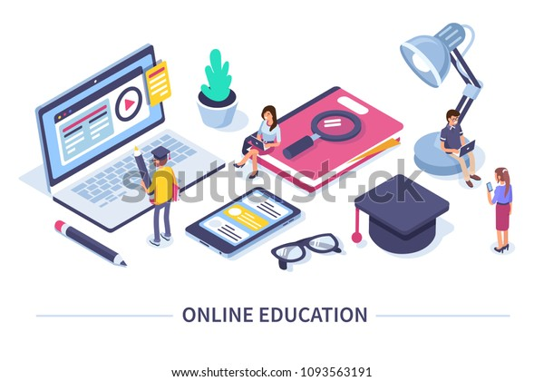 Online education concept banner with characters. Can use for web banner, infographics, hero images. Flat isometric vector illustration isolated on white background.