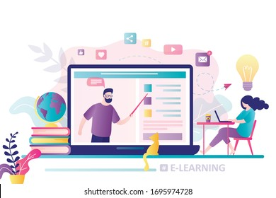 Online education concept banner. E-learning, home schooling. Woman student working on laptop. Teacher or vlogger on display. Web courses or tutorials concept. Education platform. Vector illustration
