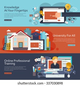 online education concept banners set in flat design
