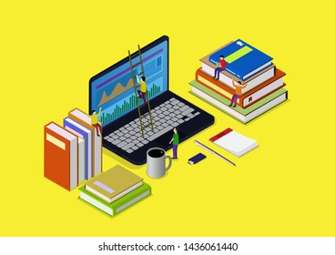 Online education concept with books and laptop illustration, People scrambling to books