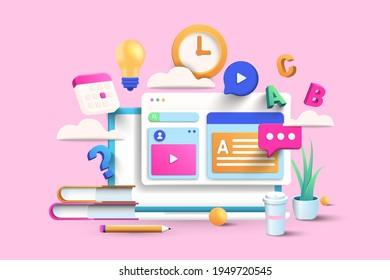 Online education concept design for website banner, presentation, poster and advertising. 3d Vector illustration