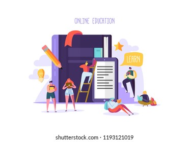 Online Education Concept. E-Learning with Flat People Reading Books. Graduation University College Characters. Teaching Course Seminar Students. Vector illustration