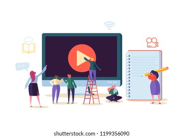 Online Education Concept. E-Learning with Flat People Watching Streaming Video Course on Computer. Graduation University College Students Characters. Vector illustration
