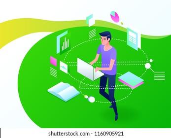 Online education concept. E-learning internet study. Isometric vector illustration