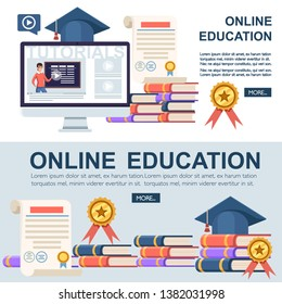 Online education concept. Flat vector illustration. Web site page and mobile app design. Online training, workshops and courses visualization.