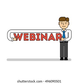 Online education concept. Funny cartoon businessman with webinar title. Idea of business webinar, distance education and more