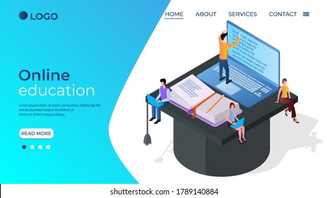 Online education.The concept of getting an online education using various gadgets.Online testing and exams.Learning through educational programs.Isometric illustration.