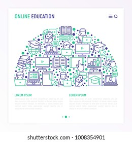 Online education concept in half circle with thin line icons: online course, webinar, e-book, video conference, home studying, wise owl in graduation cup. Modern vector illustration, web page template