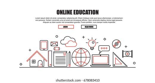 Online Education Concept Header . Flat Thin line Designed Vector Illustration