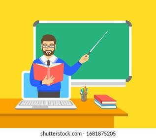 Online-Bildungskonzept. Heimunterricht während der Quarantäne. Fernunterricht per Computer. Ein Lehrer in der virtuellen Klasse hält ein offenes Buch und weist auf die Tafel hin. Cartoon-Vektorillustration-Illustration