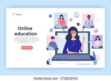 Illustration des Online-Bildungskonzepts. Lächeln Menschen, die Kopfhörer für einen Videoanruf benutzen. Perfekt für Webdesign, Banner, mobile App, Landing Page, Vektorflaedesign.