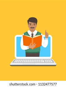 Online education concept. Indian man teacher holds open book and lifts a finger up to share knowledge on web. Cartoon vector illustration. Distance learning by computer. Virtual library on internet
