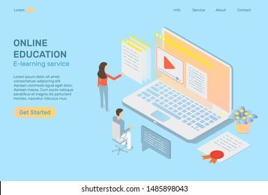 Online education concept internet training isometric illustration