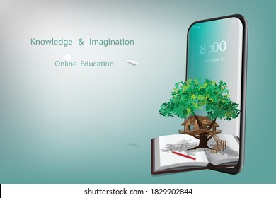 Online education with a concept of knowledge and imagination offers mobile phone, books, pencils, tree house and paper plane on gradient blue background. Illustration 3D rendering.