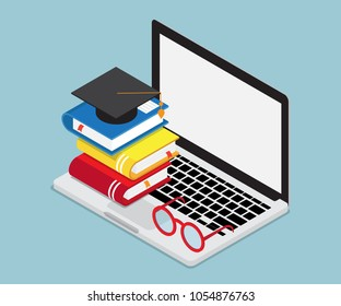 online education concept laptop with books and mortar board cap isometric vector background