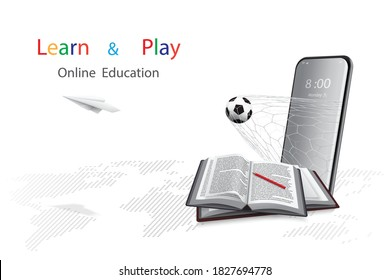 Online education with a concept of learning and play offers through mobile phone. There are books with pencil next to it and soccer ball and paper plane coming out of it with dotted world map background, white. 3D Illustration rendering isolated on.