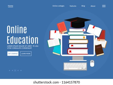 Online education concept, library and e-books. Web page design templates. Modern vector illustration for website. Eps 10.