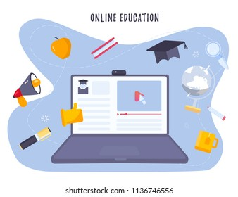 Online education concept with notebook and study objects, hat, pen, book. Modern on site learning training with play button and pointer. vector illustration.