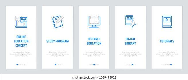Online education concept, Study program, Distance education, Digital library, Tutorials Vertical Cards with strong metaphors. Template for website design.