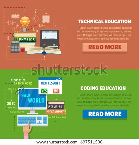 online education concept template online education stock vector